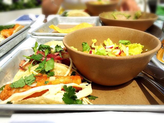 baja fish taco, spicy chorizo taco & pork belly taco w/ side salad